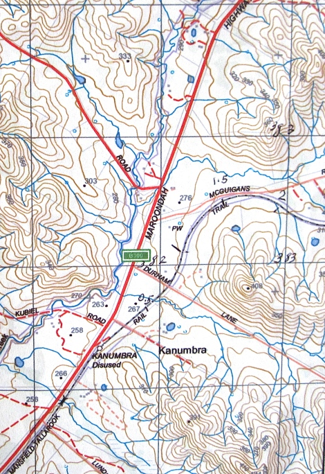 Topo map from Kanumbra station