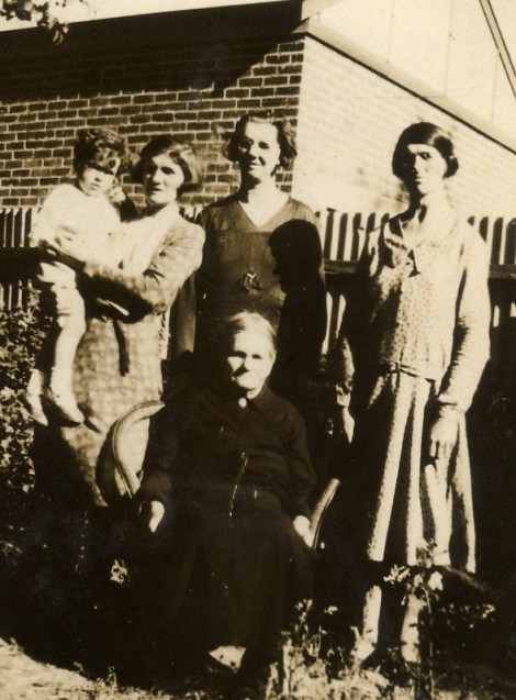 Maggie (Mrs Mewett) holding Alan, Marion Pollock, Mary Ann Pollock (Mrs Maclean) Seated: Mary Anne (Grandma) Pollock (nee McGuigan). Benalla ca.1933